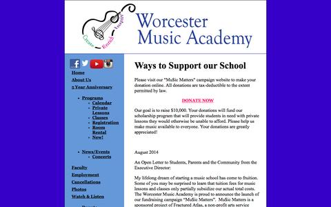 Screenshot of Support Page worcestermusicacademy.com - Worcester Music Academy, Northborough, Shrewsbury, Paxton, Support, Donate Now, Scholarship Program Campaign, Mu$ic Matters, Scholarships, Corporate Donations - captured Jan. 12, 2016