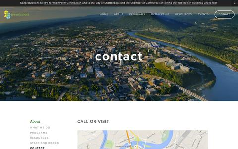 Screenshot of Contact Page greenspaceschattanooga.org - Contact — green|spaces - captured Feb. 2, 2016