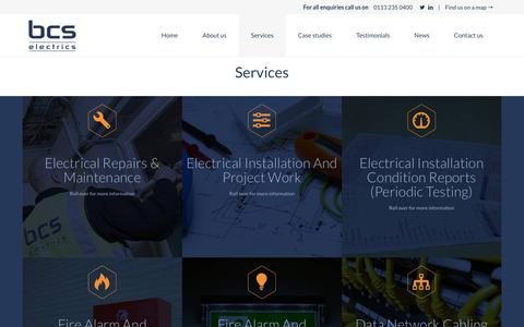 Screenshot of Services Page bcselectrics.co.uk - Electrical Contractors - Services, BCS Electrics, Leeds - captured July 31, 2018