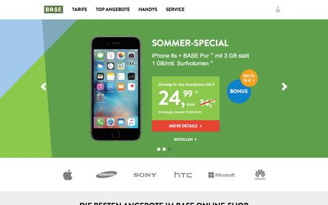Screenshot of Home Page base.de - BASE - captured Aug. 20, 2016