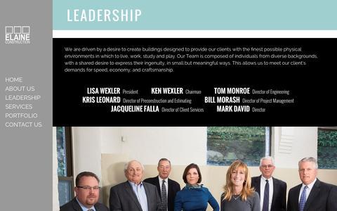 Screenshot of Team Page elaine.com - Leadership – Elaine Construction - captured Jan. 27, 2016