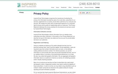 Screenshot of Privacy Page inspiredsmarttechnologies.com - Privacy | Contact | Inspired Smart Technologies - captured Sept. 30, 2014