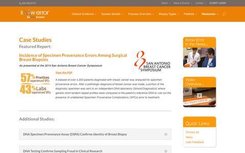 Screenshot of Case Studies Page knowerror.com - Case Studies - captured Feb. 9, 2016