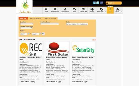 Screenshot of Jobs Page solarika.org - Solar Jobs, Consulting Assignments - solarika.org - captured Oct. 1, 2014