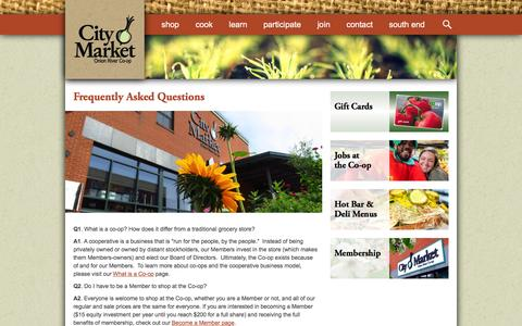 Screenshot of FAQ Page citymarket.coop - Frequently Asked Questions | City Market / Onion River Co-op - captured Dec. 9, 2015