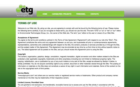 Screenshot of Terms Page etgroupinc.com - Terms of Use | Enviromental Technologies Group - captured Oct. 2, 2014