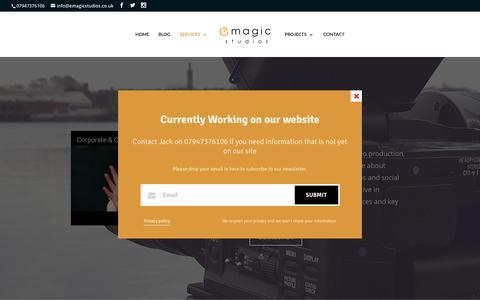 Screenshot of Services Page emagicstudios.co.uk - Corporate Video - E-Magic Studios - captured May 11, 2017