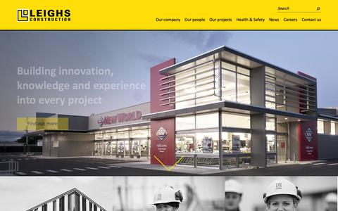 Screenshot of Home Page leighsconstruction.co.nz - Welcome | Leighs Construction - captured Oct. 2, 2014