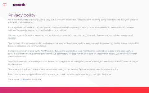 Screenshot of Privacy Page netmedia.io - Privacy policy * NETMedia - captured Oct. 23, 2018