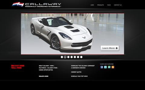 Screenshot of Home Page callawaycars.com - HOME | Callaway Cars - Powerfully Engineered Automobiles - captured Oct. 1, 2014
