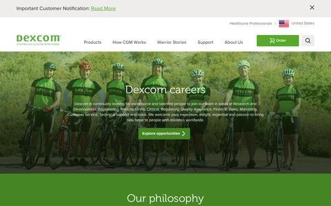 Screenshot of Jobs Page dexcom.com - Dexcom Careers | Explore job opportunities at Dexcom | Dexcom - captured April 6, 2016