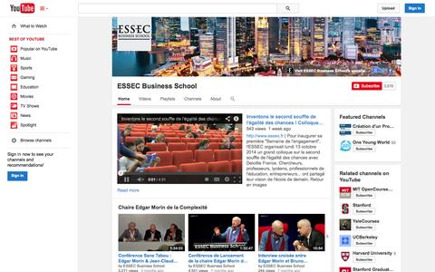 Screenshot of YouTube Page youtube.com - ESSEC Business School  - YouTube - captured Oct. 22, 2014