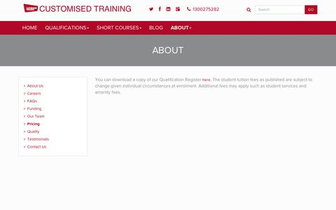 Screenshot of Pricing Page customisedtraining.edu.au - Pricing - Customised Training - captured Jan. 26, 2016