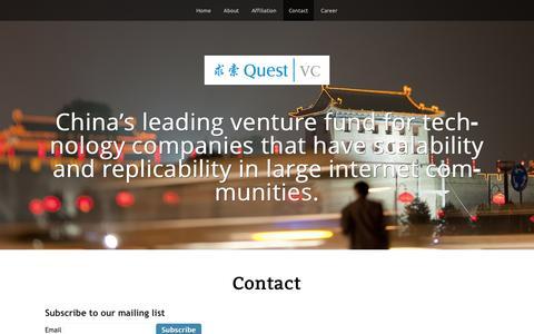 Screenshot of Contact Page questvc.com - Contact - QuestVC - captured Sept. 30, 2014