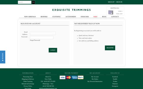 Screenshot of Login Page exquisitetrimmings.com - Exquisite Trimmings - captured July 24, 2018