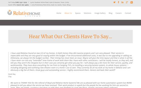 Screenshot of Testimonials Page relativehomesystems.com - Hear What Our Satisfied Home Automation Clients Have to Say! - captured Sept. 20, 2018