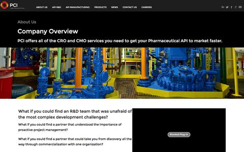 Screenshot of About Page pcisynthesis.com - Overview - cGMP Polymers - API Manufacturing   PCI Synthesis - captured July 9, 2016