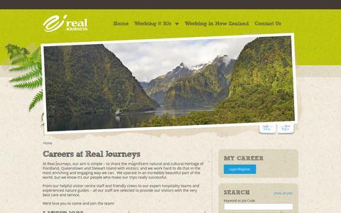 Screenshot of Jobs Page realjourneys.co.nz - Home  | Real Journeys - captured Sept. 25, 2014