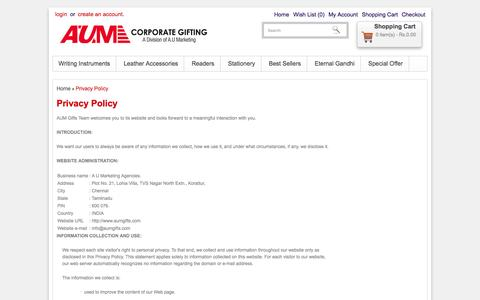 Screenshot of Privacy Page aumgifts.com - Privacy Policy - captured Oct. 4, 2014