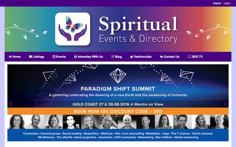 Screenshot of Home Page spiritualeventsdirectory.com - Spiritual Events & Directory - captured Aug. 15, 2016