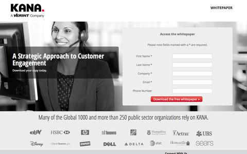Screenshot of Landing Page kana.com - A Strategic Approach to Customer Engagement :: KANA - captured Oct. 28, 2014