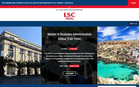Screenshot of About Page lscmalta.edu.mt - London School of Commerce Malta (LSC) • About - captured Sept. 30, 2018
