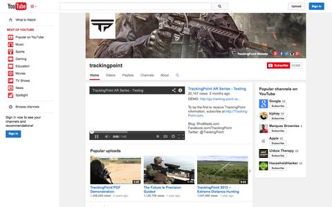 Screenshot of YouTube Page youtube.com - trackingpoint  - YouTube - captured Oct. 22, 2014