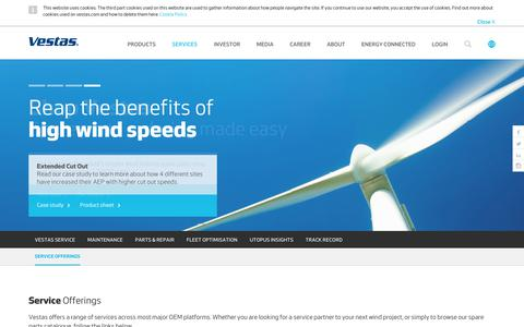 Screenshot of Services Page vestas.com - Vestas   Services - captured March 17, 2019
