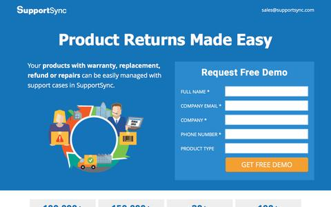 Screenshot of Landing Page supportsync.com - SupportSync Product Support Software - captured Nov. 4, 2016