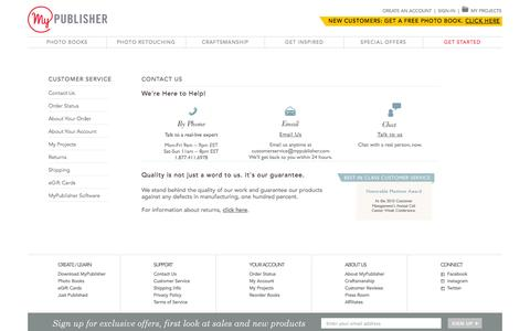 Screenshot of Support Page mypublisher.com - Customer Service | Contact Us - captured Oct. 28, 2014