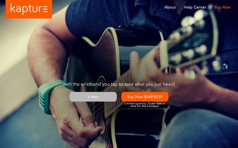 Screenshot of Home Page kaptureaudio.com - Kapture Audio-Recording Wristband Device - captured Nov. 24, 2015
