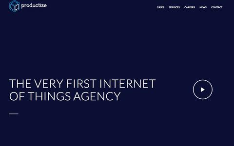 Screenshot of Home Page productize.be - Productize - The Internet of Things Agency in Belgium - captured July 22, 2018