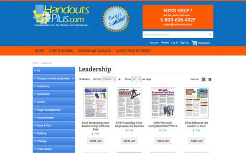 Screenshot of Team Page handoutsplus.com - Leadership - captured Jan. 25, 2016