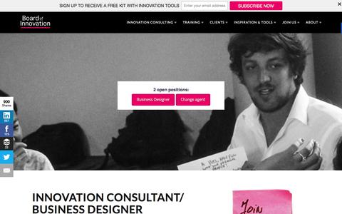 Screenshot of Jobs Page boardofinnovation.com - 2 open positions: Innovation Consultant & Change Agent - captured Dec. 2, 2015