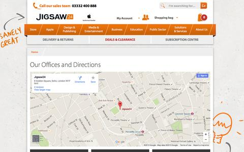 Screenshot of Maps & Directions Page jigsaw24.com - Our Offices and Directions  | Jigsaw24 - captured Dec. 4, 2015
