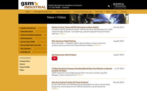 Screenshot of Press Page gsmindustrial.com - GSM Industrial News | Employee news. Project insights. Videos - captured Dec. 6, 2015