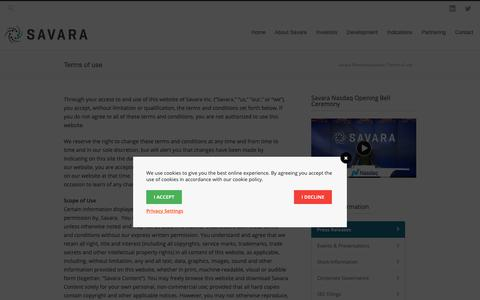 Screenshot of Terms Page savarapharma.com - Savara Pharmaceuticals Terms of use - Savara Pharmaceuticals - captured Oct. 2, 2018