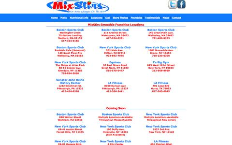 Screenshot of Locations Page mixstirs.com - MixStirs Locations | Healthy Frozen Juice Smoothies | New York | New Jersey | Pennsylvania | Massachusetts | Las Vegas | Arizona - captured Oct. 26, 2014
