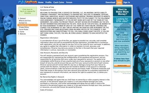Screenshot of Terms Page onverse.com - General - Terms of Use | Virtual World of Onverse - captured Sept. 18, 2014
