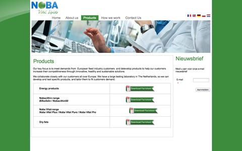 Screenshot of Products Page noba.nl - Products - captured Oct. 9, 2014