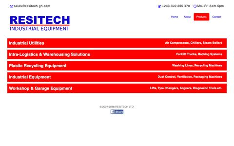 Screenshot of Products Page resitech-gh.com - RESITECH | Industrial Equipment, Machines & Workshop Tools - captured Oct. 18, 2018