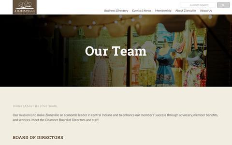 Screenshot of Team Page zionsvillechamber.org - Our Team | Zionsville Chamber of Commerce | Zionsville, IN 46077 - captured Oct. 18, 2018