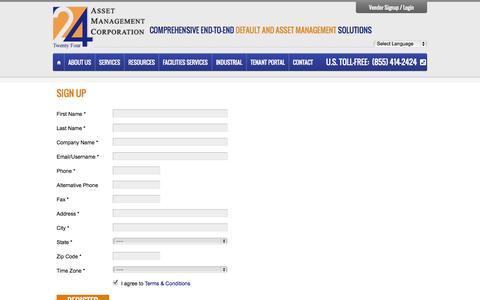 Screenshot of Signup Page 24asset.com - Sign Up   24 Asset Management Corporation - captured Oct. 27, 2014