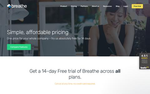 Screenshot of Pricing Page breathehr.com - Free HR Software Trial | HR Software Prices & Cost - captured March 9, 2019