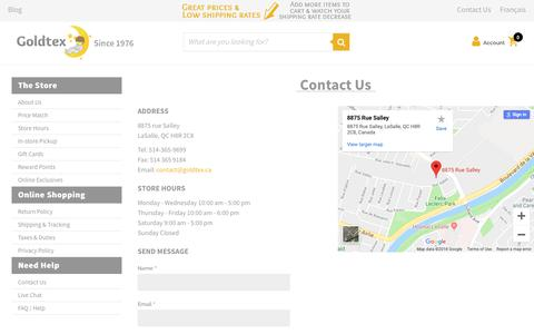 Screenshot of Contact Page Maps & Directions Page goldtex.ca - Contact Us - captured Nov. 5, 2018