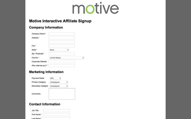 Motive Interactive Affiliate Signup