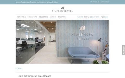 Screenshot of Jobs Page simpsontravel.com - Careers with Simpson Travel | Simpson Travel - captured Oct. 13, 2017