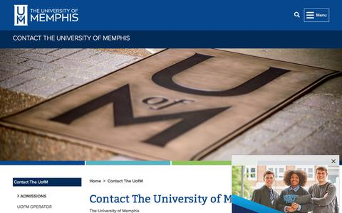 Screenshot of Contact Page memphis.edu - Contact The University of Memphis -        	Contact The UofM       	 - The University of Memphis - captured Aug. 12, 2019