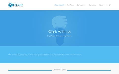 Screenshot of Jobs Page bluearthrenewables.com - Work With Us - BluEarth Renewables - captured Feb. 7, 2016
