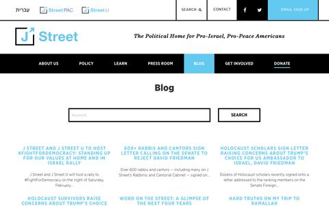 Screenshot of Blog jstreet.org - J Street: The Political Home for Pro-Israel, Pro-Peace Americans - captured March 2, 2017